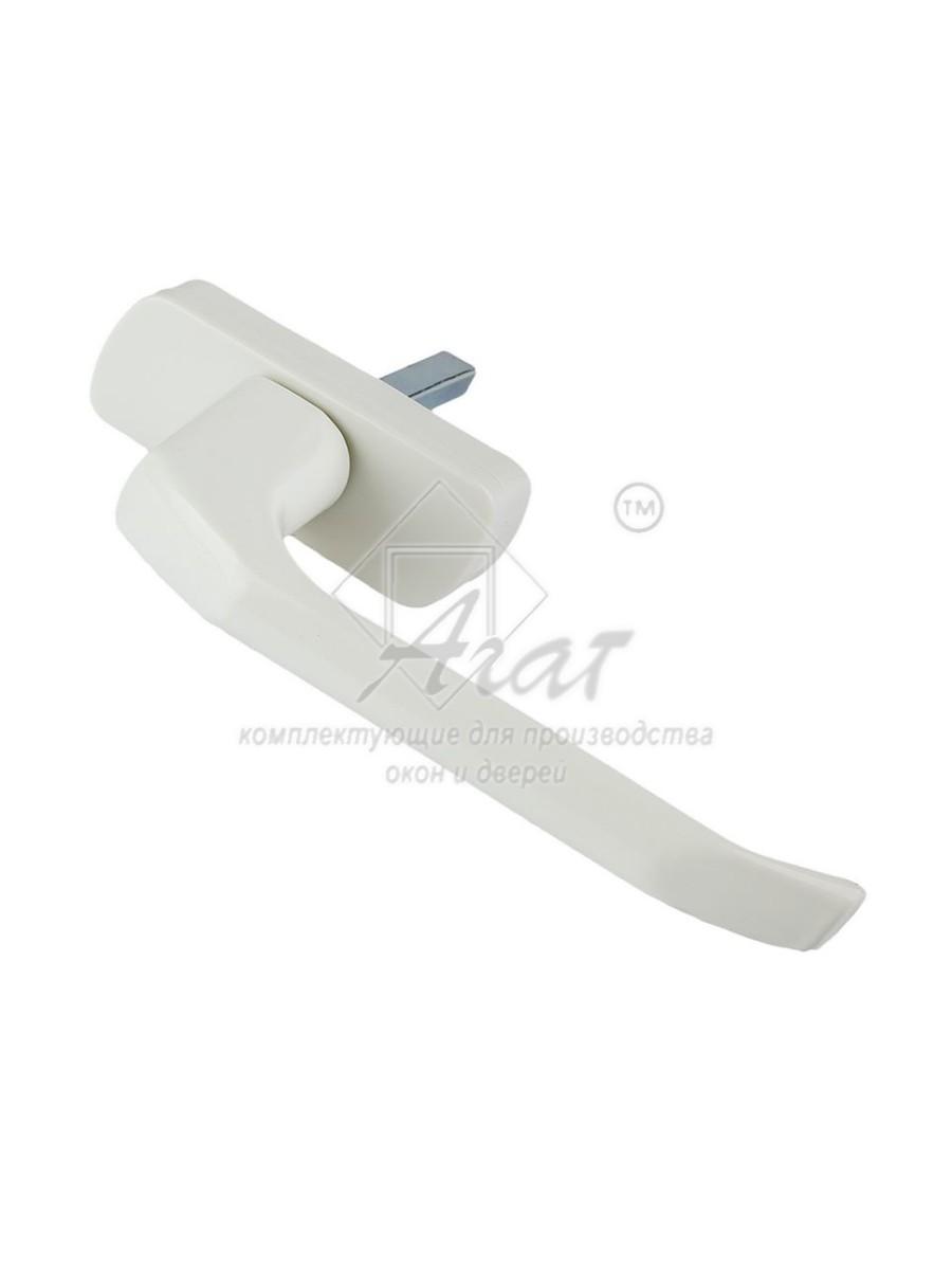 Ручка оконная белая металл, ручка на окно длина стержня 35 мм