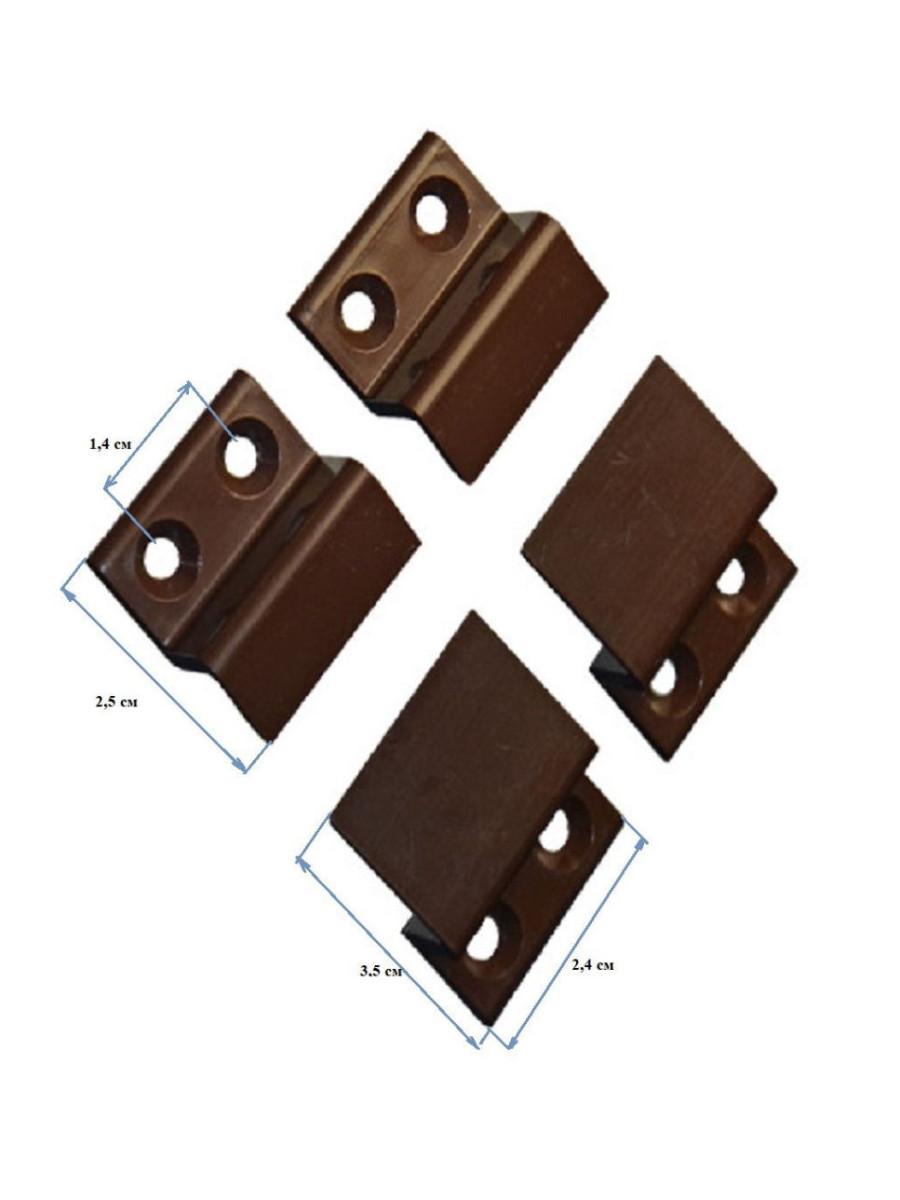 Набор уголки ABS, крепления ABS, ручки для москитных сеток силикон КОРИЧНЕВЫЙ + 8 саморезов с буром