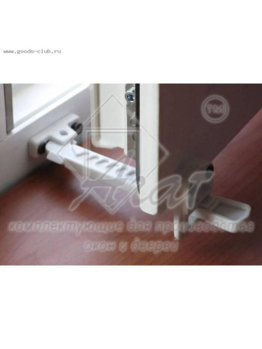 Ограничитель на окно 12 позиций БЕЛЫЙ + 4 самореза с буром, Гребенка пластик ABS L-165мм. Детский блокиратор.